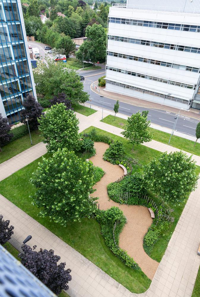 nhs 70 garden aerial shot
